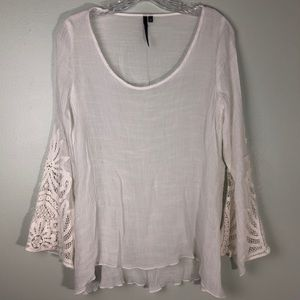 Kay Celine Lace Embroidered White Tunic